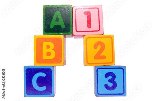 abc 123 in toy play block letters with clipping path