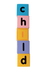 child in toy play block letters with clipping path