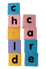 childcare in  block letters with clipping path on white