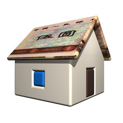The small one-storeyed house in the Chinese currency, 3d