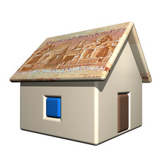 The small one-storeyed house in the Egyptian currency, 3d
