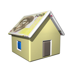 The small one-storeyed house in the Kirghiz currency, 3d