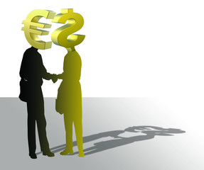 Euro and dollar shaking hands