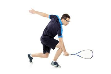 A squash player playing