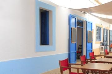mediterranean street white houses bar Formentera