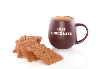 Hot chocolate with speculaas cookies on a cold winter day tradit