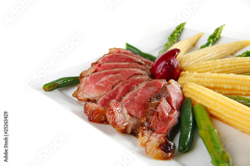 roast meat with corns