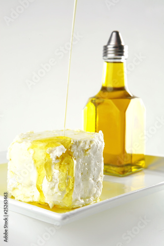 white soft cheese with oil
