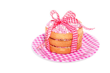 Dutch traditional biscuits with rusks on a small plate isolated