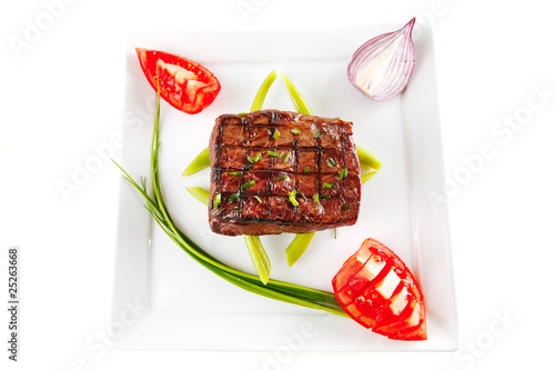roasted beef served on white