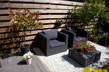 garden furniture in a modern garden