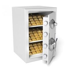 Cassaforte piena di lingotti d'oro