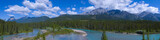 Panorama Shallow Crystal Blue Mountain River in Banff