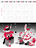 Calendar  2011, year of cat or rabbit, vector illustration.