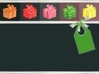 Decorative background with ribbon, bow and presents.
