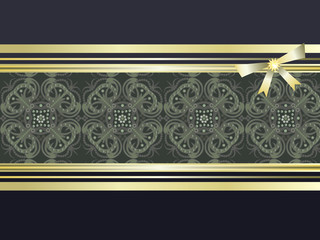Decorative background with ribbon, bow and decorative seamless.