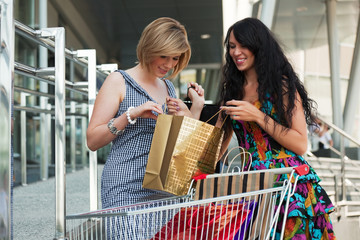 Two young women with shopping cart.