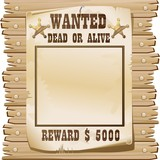 Wanted Dead or Alive Poster-Ricercato Vivo o Morto-Vector