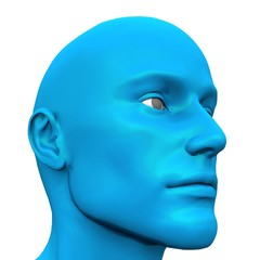 Blue Male Head - Isolated - 01