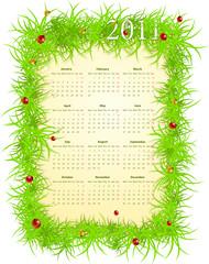Vector illustration of spring 2011 calendar