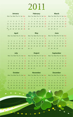 Vector illustration of 2011 calendar for St. Patricks Day