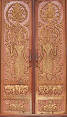 Traditional Laos Style Temple Door Art