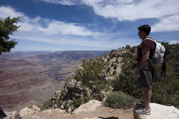 Hiker on Grand Canyon South Rim Trail