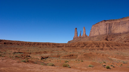 Landscape of Monument Valley with Three Sisters