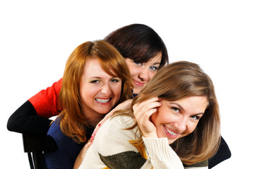 Portrait of three fresh charming girls with beautiful colorful e