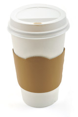 Paper coffee cup with cardboard collar on a white background