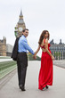 Romantic Couple Westminster Bridge by Big Ben, London, England