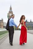 Romantic Couple Westminster Bridge by Big Ben, London, England