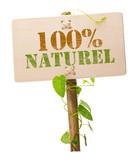 100 % naturel produit sans pesticide - texte en français poster