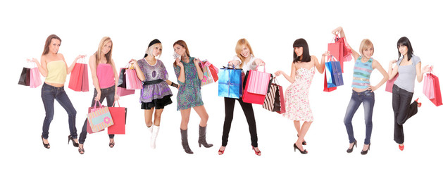 group shopping girl isolated on white background
