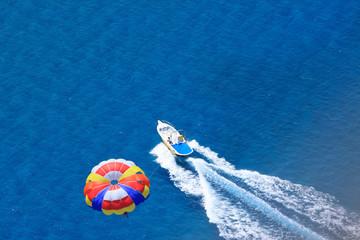 Sport activity - para sailing over the sea