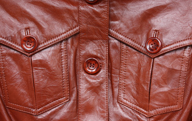 Closeup of a fashionable leather jacket