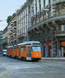 Milan street with orange tram