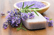 bar of natural soap, herbs and bath salt