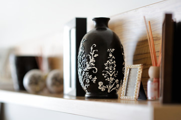 Vase closeup in decorated living room