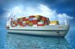 Cargo ship sails across the Ocean. My own design
