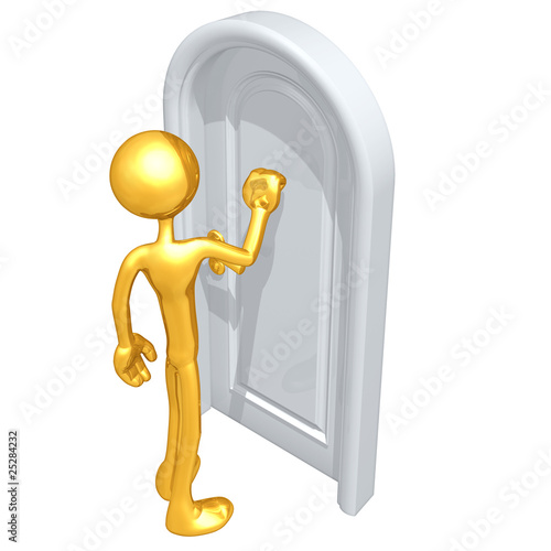 Gold Guy Knocking On A Door