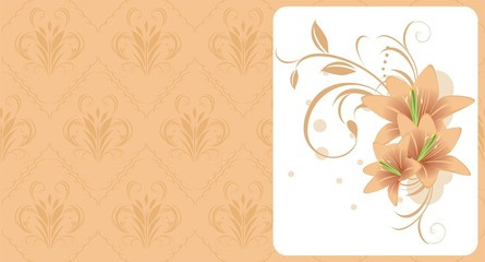 Lilies with ornament. Decorative background for card. Vector