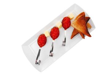 red caviar on spoon