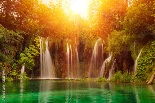 Tuinposter Watervallen Waterfalls in national park. Plitvice, Croatia
