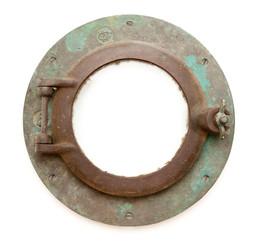 Aged Antique Ship Porthole Isolated with Clipping Path