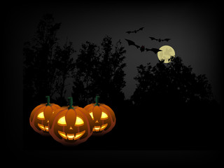 Pumpkins in the Halloween night