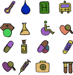 Healthcare and Pharma icons isolated on white