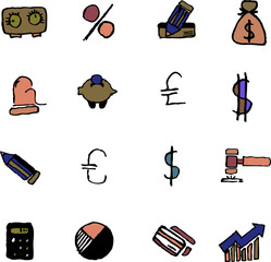 Finance and Banking icons isolated on white