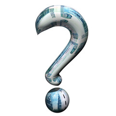 Question mark from the Russian rubles, 3d, a white background.