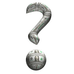 Dollar question mark, 3d, a white background.